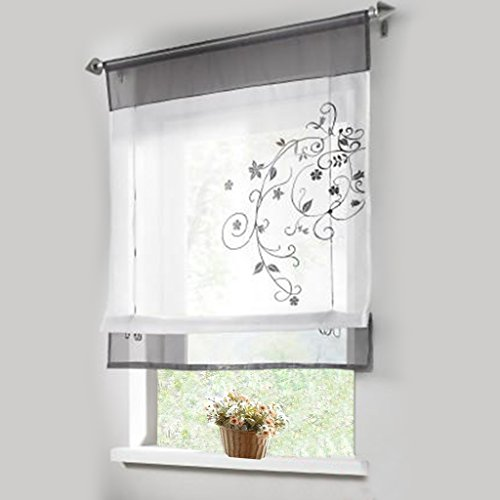 1pcs Sheer Liftable Organza Embroidered Kitchen Curtains Roman