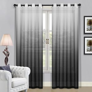 Beverly-Hills-Window-Treatment-Collection-Fabric-Ombre-Sheer-Grommet-Window-Panels-a-Pair-of-2-Panels-52inch-Width-84inch-Length-Each-Panel-Gray-Black-0