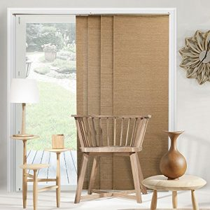 Chicology-Adjustable-Sliding-Panel-Cordless-Shade-Double-Rail-Track-Privacy-Fabric-80-x-96-Birch-Truffle-0