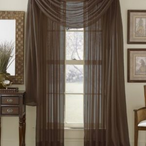 HLCME-Chocolate-Brown-Sheer-Window-Scarf-Valance-Fully-Stitched-Hemmed-56-x-216-Inch-Long-0