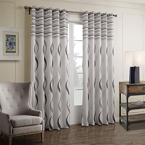 VIVOHOME-Window-Treatment-Printed-Thermal-Insulated-Curtain-One-Panel-with-Grommets-White-with-Gray-Stripes-5518Wx8858L-Inch-0