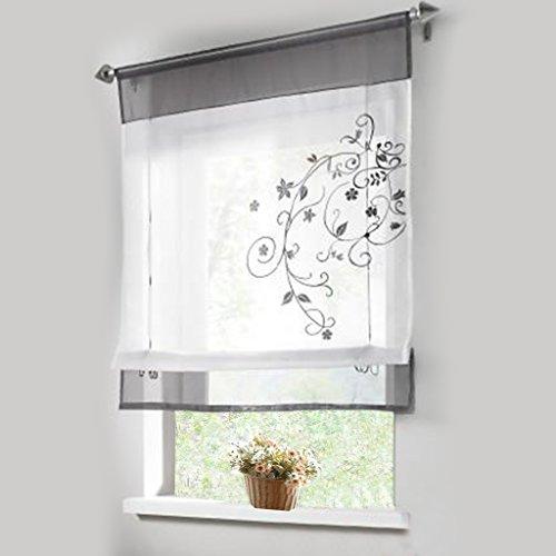 "1pcs Sheer Liftable Organza Embroidered Kitchen Curtains Roman Window Shades,Grey,39×55"""