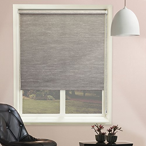 Chicology Roller Shade, Clutch Lift System, Continous Loop, Privacy Fabric, Candyfloss Coal (Grey), 23″x64″