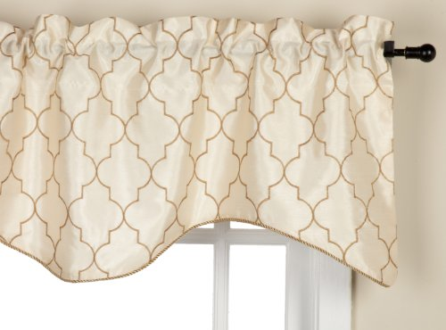 Stylemaster Hudson 52 by 17-Inch Embroidered Lined Valance with Cording, Vanilla